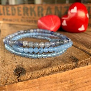 🆕🆕✨STONE BEAD STACKING BRACELET SET 4mmBLUE JADE